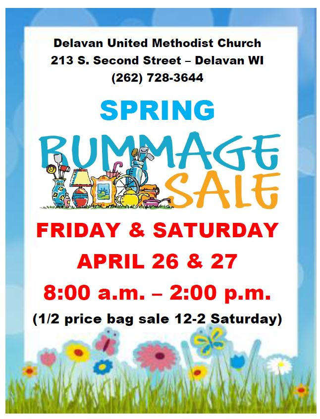Rummage Sale poster - Delavan United Methodist Church